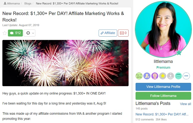 positive testimonial from a successful wealthy affiliate member