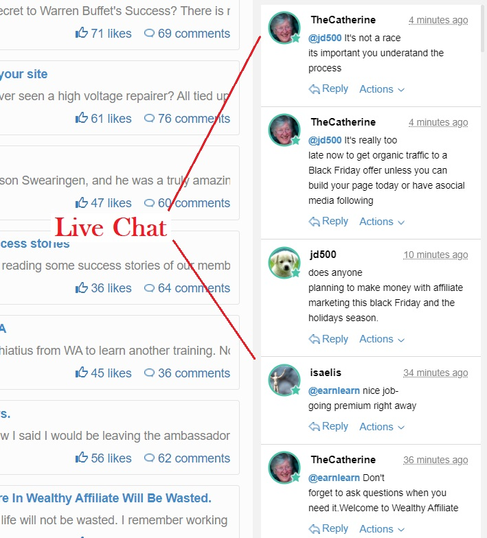 live chat for wealthy affiliate members