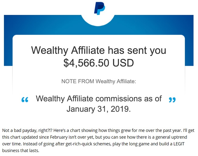 wealthy affiliate success story with commission paid out